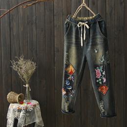 夏季文艺复古民族风做旧水洗贴布刺绣花松紧腰七分牛仔裤女哈伦裤