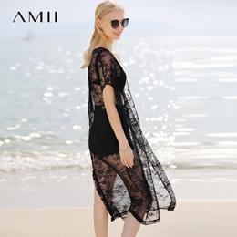 Amii极简ins欧洲站2018夏季度假镂空透视蕾丝沙滩半身裙两件套装