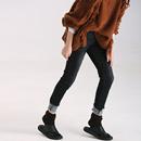 米可可  N2665文藝大碼修身顯瘦磨白抓痕小腳牛仔褲 鉛筆褲 18新