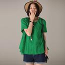 米可可  C1680 文艺大码圆领刺绣A版大摆薄款短袖衬衫女 2018夏
