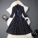 2018秋冬季女装新款大气V领七分袖高腰星星印花修身显瘦连衣裙女
