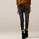 米可可  N2729 显瘦中腰直筒烟管牛仔裤女深色百搭磨毛厚实18冬