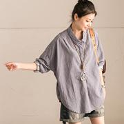 C012B 韩版背后系带宽松蝙蝠袖不对称蓝底竖条纹衬衫女【米可可】