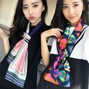 韩版丝巾 韩版时尚领巾 百搭绸缎面围巾双层印花小碎花丝巾女
