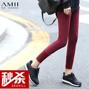 Amii[极简主义]冬修身大码毛织拼接加绒小脚打底裤11571790