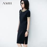 Amii极简休闲运动连衣裙短袖2018春夏装新款女装中长直筒T恤裙子
