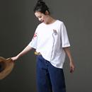 米可可 T1037文艺大码圆领花卉刺绣宽松短袖纯棉白T恤女 2018春
