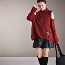 M8251  文艺清新菱形格织花露肩性感高领套头短款毛衣女2019米可可