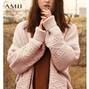 Amii极简复古甜美慵懒风毛衣外套女2018冬季新款连襟拼接宽松开衫