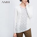 【秒杀】AMII【极简主义】桃心领长袖印花不对称斜摆修身大码针织毛衣11581135