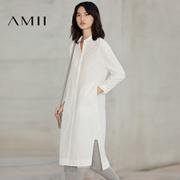 Amii2017春新大码休闲翻领半襟开衩宽松连衣裙11770329