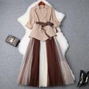 2019春夏女装新款条纹收腰小西装外套+拼色网纱半裙洋气套装T9542