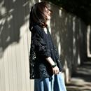 米可可 W2022 文艺大码V领开衫拼接蕾丝镂空针织外套女 2019春