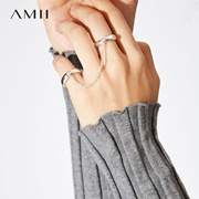 Amii[极简主义] 2017新品百搭首饰黄铜电镀光金双戒指11774480