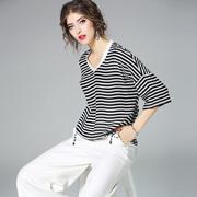 欧美017夏季新款女装中袖气质条纹印花宽松大码V领显瘦T恤女上衣