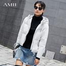Amii[极简主义]绣花羽绒服女2017冬季新撞色一字连帽90白鸭绒外套