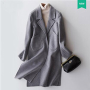 2017秋装新款羊毛双面呢大衣韩版中长款修身大衣