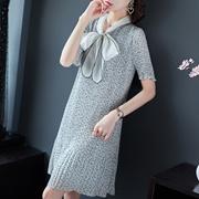 2019夏女装新款蝴蝶结浪漫百褶时尚显瘦减龄雨点连衣裙19054M797