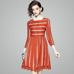 欧美2018春夏新款欧美时尚气质小翻领修身显瘦七分袖条纹连衣裙女