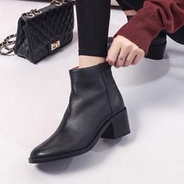 短靴女秋冬新款复古英伦风中跟尖头粗跟裸靴切尔西靴马丁靴及踝靴