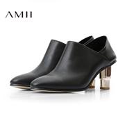 Amii[极简主义]2016新品头层牛皮尖头粗跟及踝高跟短靴11684637