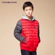 OURQ男童冬装短款羽绒服 青少年儿童装假两件羽绒服OLWB-JD31C