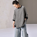 米可可 C1038 文艺大码中式侧扣黑白格子拼色宽松半袖衬衫女 春