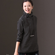 米可可  Z1088B 通勤英伦时尚堆堆领条纹百搭显瘦打底针织衫女