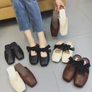 2017新款韩版平底拖鞋女夏时尚外穿学生百搭蝴蝶结方头包头半拖鞋