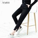 Amii极简原宿ulzzang韩版毛呢休闲九分裤2018冬季新款拉链直筒裤