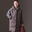 米可可   W886B文艺宽松大码蕾丝绣花连帽中长款棉服厚外套女冬