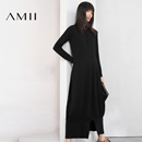 Amii[极简主义]2016冬新金属圆环拉链宽松针织连衣裙女装长裙11693756