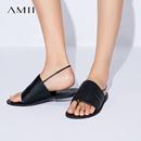 Amii[极简主义]2017新款简洁舒适宽面夹趾平底牛皮凉鞋女11773335