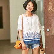 包邮预售 C7091B 民族风通勤棉麻印花蕾丝拼接圆领短袖衬衫女 夏