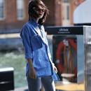 米可可  C8837 文艺大码纯棉薄款蓝色牛仔衬衫女 2019年春