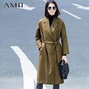 Amii【极简主义】秋冬新女宽松大码翻领落肩开襟长款束腰西装11581029