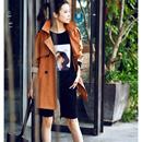 韩版百搭收腰双排扣西装领撞色长款风衣秋季外套女2019米可可