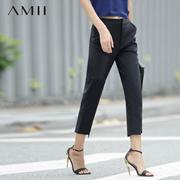 Amii[极简主义]2016夏新直筒几何贴布棉质微弹九分休闲裤11680897