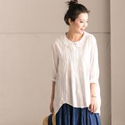 包邮预售 C2235B 韩版小清新镂空娃娃领褶皱花边减龄七分袖衬衫女