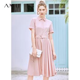 Amii极简甜美气质法式连衣裙2019夏季新款配腰带修身A摆裙衬衫裙