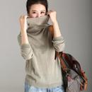 米可可  Z5121 文艺大码纯色高领圆摆含羊毛打底针织衫女 18秋冬