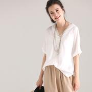米可可 C8829 文艺大码亮丝V领翻边短袖薄款纯色白T恤女 2018夏