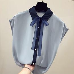 2018新款短袖雪纺衫女夏韩版蝴蝶结超仙甜美气质衬衫洋气小衫上衣