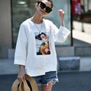 米可可 T6821韩版大码圆领短袖女孩印花纯棉宽松白色T恤女 19夏