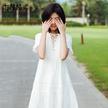 七格格2017夏装新款气质V领绑带设计木耳边蕾丝拼接连衣裙女N713