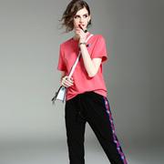 欧洲站女装2017夏季新款纯色修身显瘦百搭T恤+系带铅笔裤休闲套装