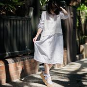 米可可 Q1703 文艺大码圆领蕾丝拼接宽松假两件连衣裙女 2018春