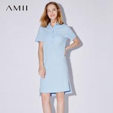 Amii[极简主义]2017夏装新POLO领宽松短袖开衩纯棉连衣裙11732261