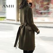 Amii[极简主义]2016冬新款羊毛修身毛呢外套大衣女中长款11622303