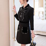 黑色法国少女式小众连衣裙2019新款中长款气质蝴蝶结娃娃裙19119